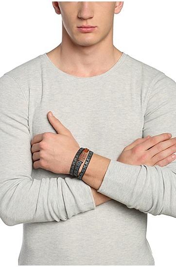 Armband aus Leder: ´Mid`, Blau