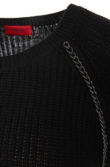 Baumwoll-Mix-Pullover mit Seiden-Anteil und Kettenelementen: 'Saga', Schwarz