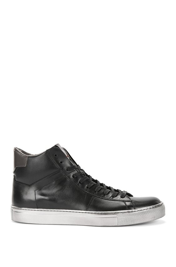 Leather trainers with metallic detailing: 'Aristoc', Black