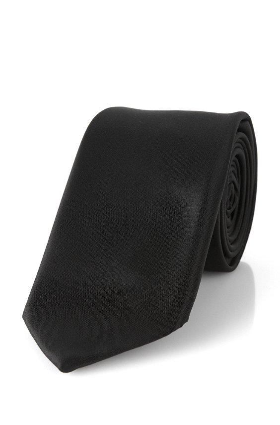 Krawatte aus reiner Seide: 'T-Tie 6 cm', Schwarz