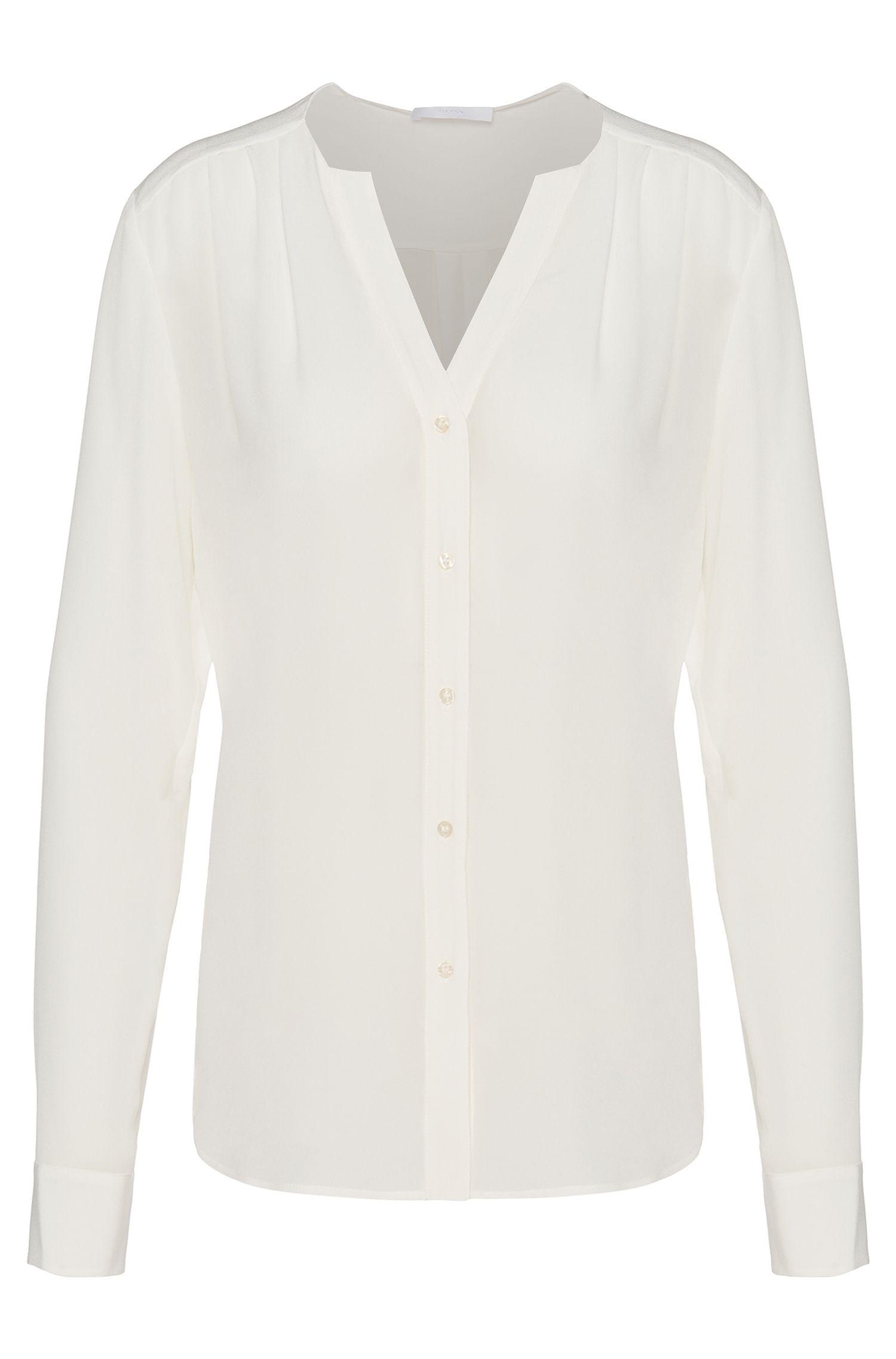 Standard-fit blouse van zijde: 'Rosalinde'
