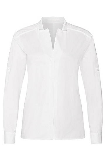 Relaxed-fit blouse in stretch cotton: 'Banani', White