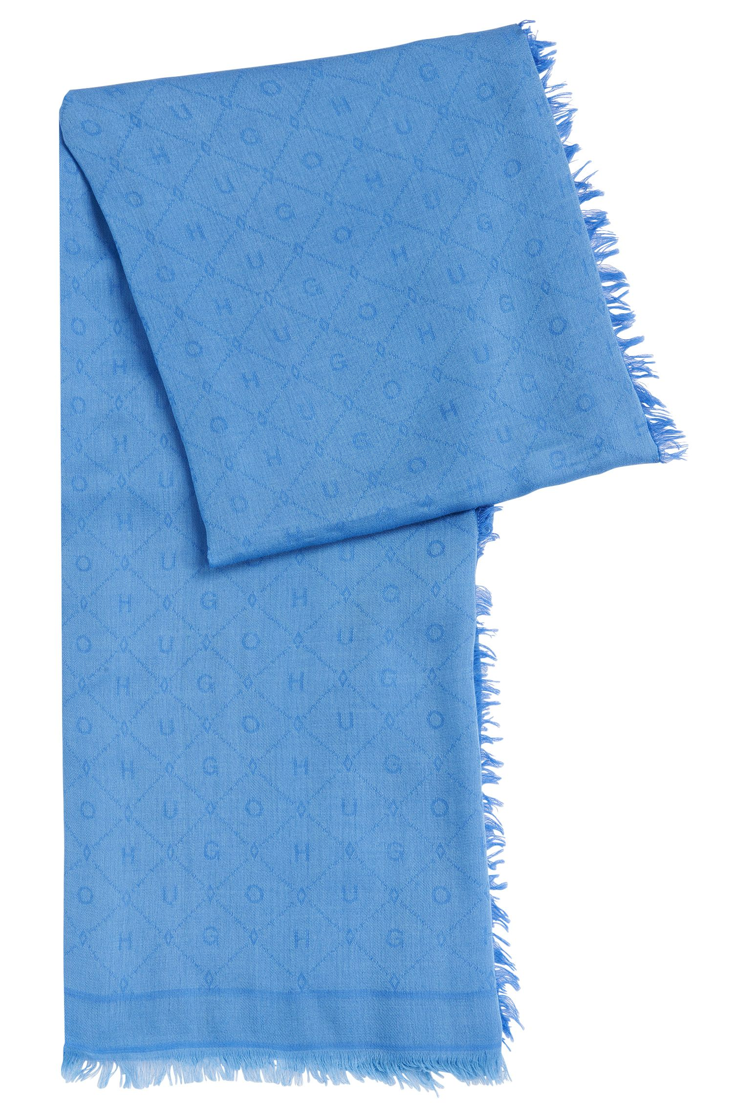 Jacquard scarf with tonal logo pattern
