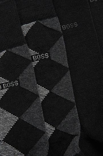 Karierte Socken aus Woll-Mix im Zweier-Pack: 'Twopack RS Design', Schwarz