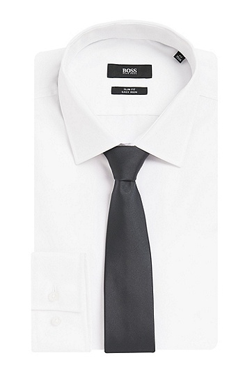 Cravate unie en pure soie: «Tie6cm», Gris