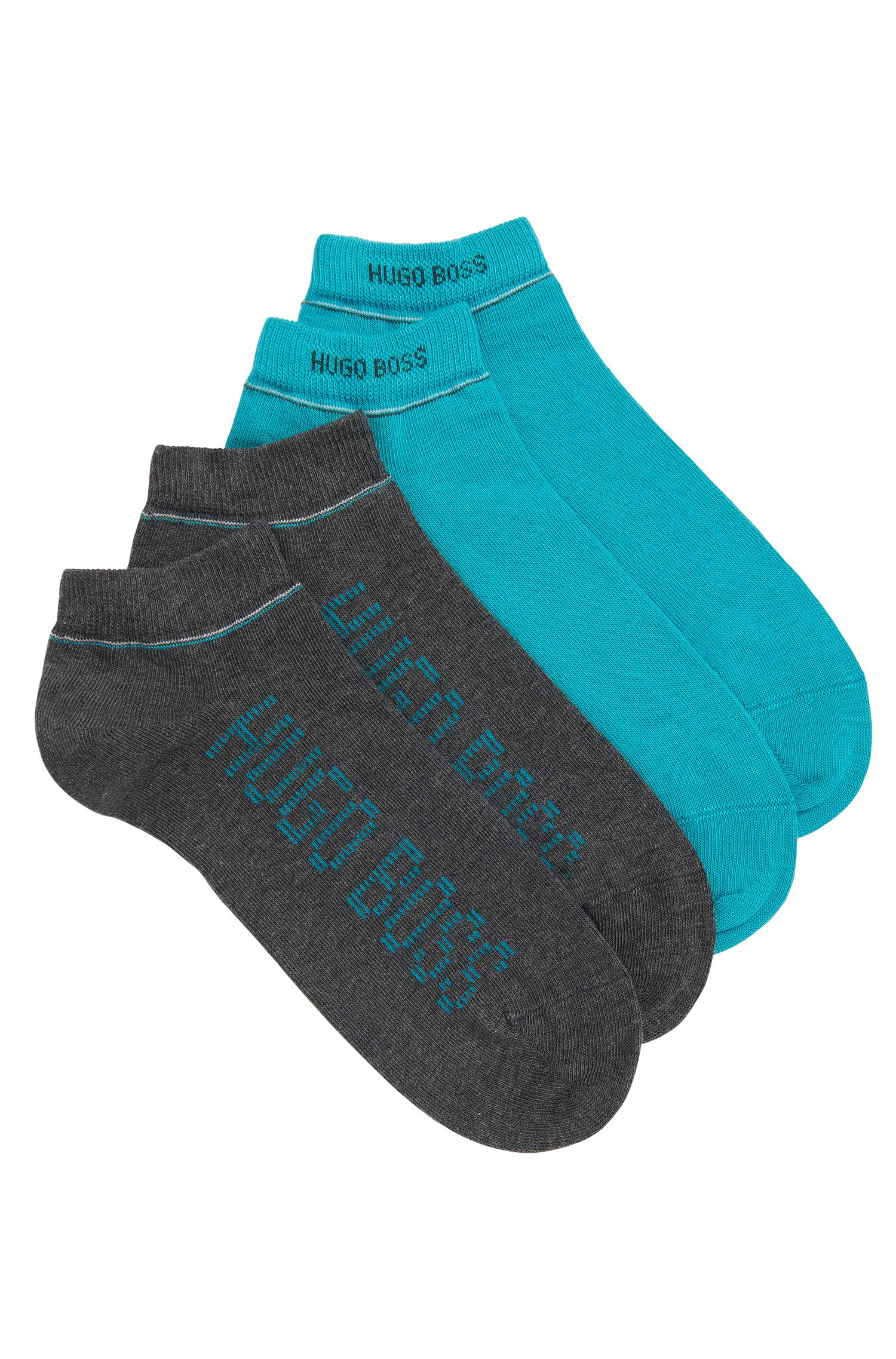 Cotton-blend trainer socks in a double pack: 'Twopack AS Design'
