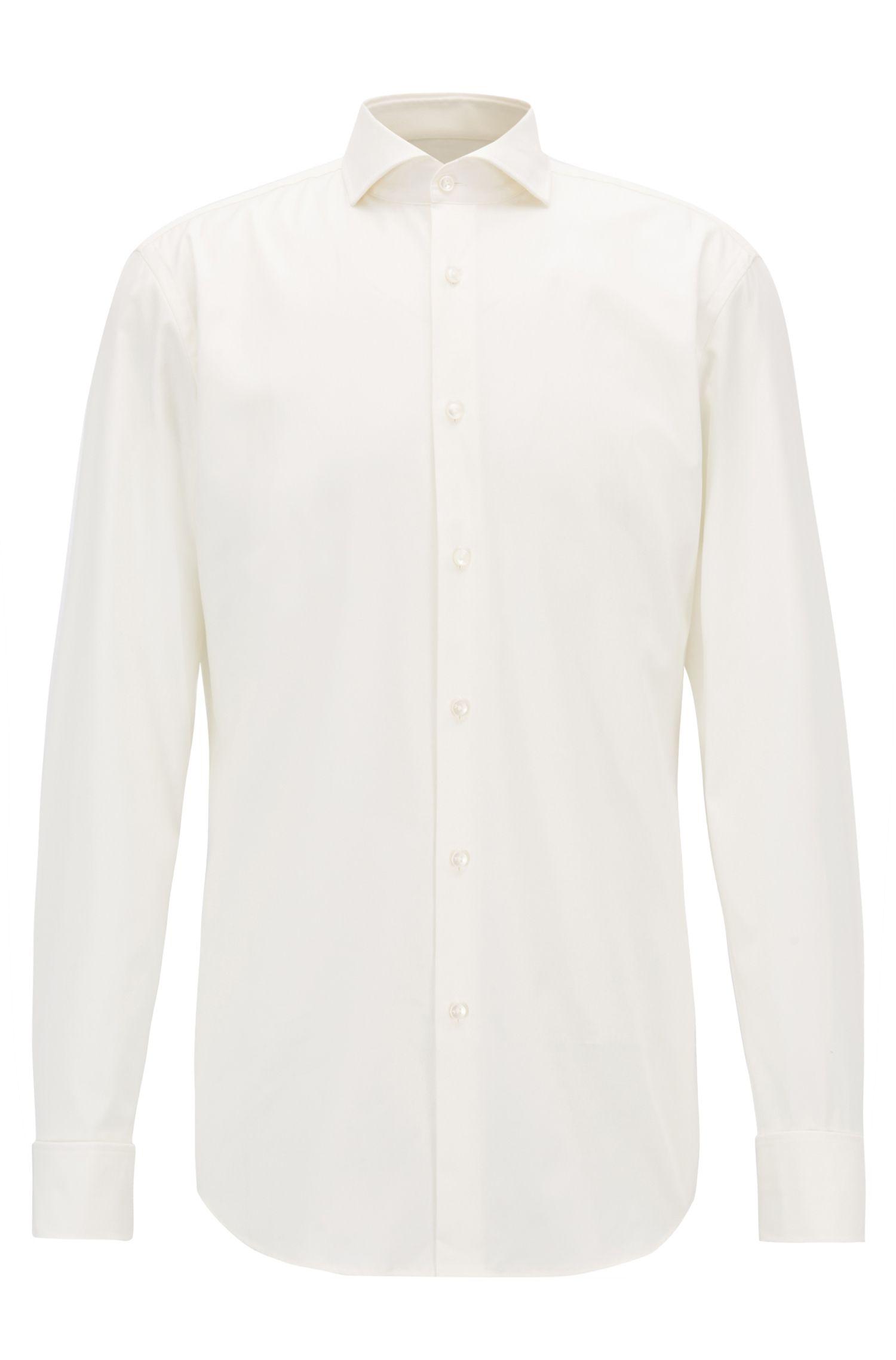 Slim-fit overhemd van katoen met omgeslagen manchetten: 'Jaiden'