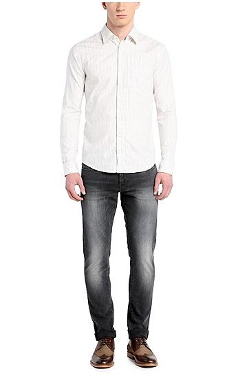 修身版纯棉休闲衬衫:'EnameE',  110_淡白色