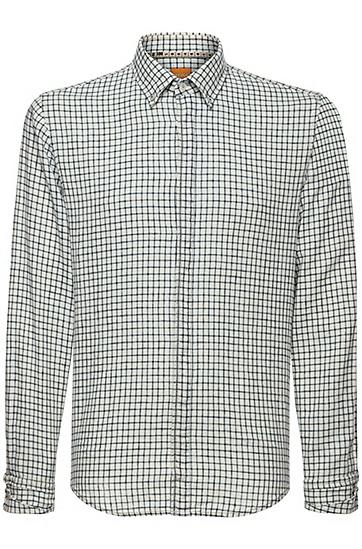 修身版亚麻混纺格纹衬衫:'EspicyE',  110_淡白色