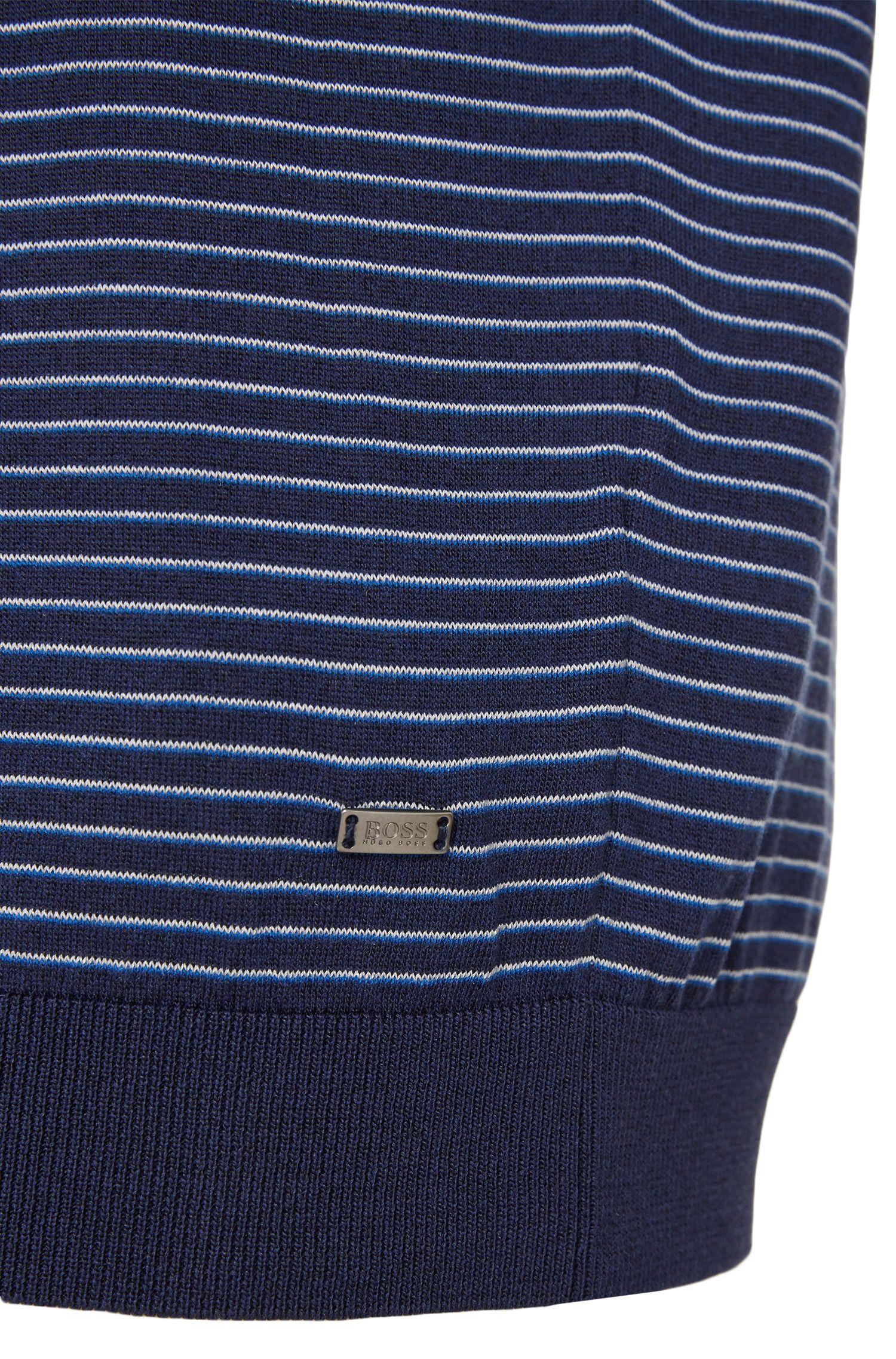 Pull coupe Slim Fit en fine soie mélangée à teneur en coton: «T-Geomar»