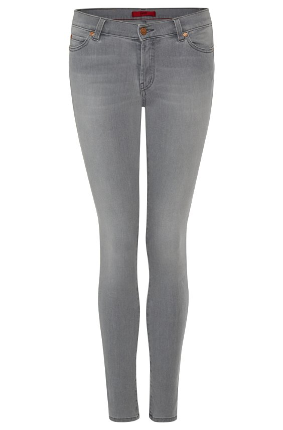 Extra slim fit jeans in stretch cotton: 'Georgina', Silver