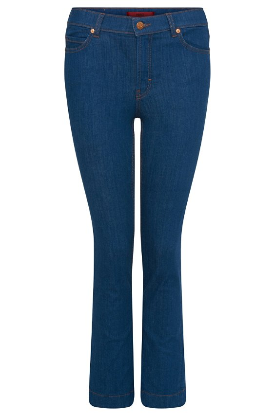 Boot cut jeans in cotton blend: 'Gissco', Turquoise