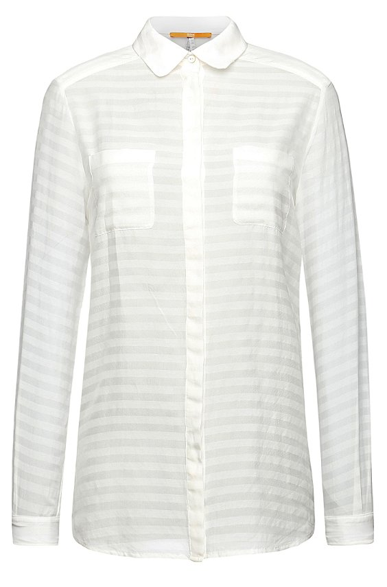 Subtly striped silk blouse: 'Ejey_1', White