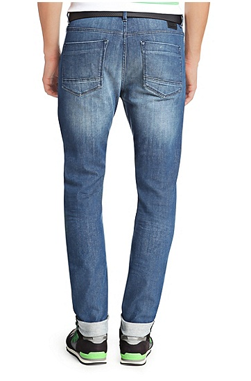 Tapered-Fit Jeans aus Baumwollstretch: ´Derek`, Blau