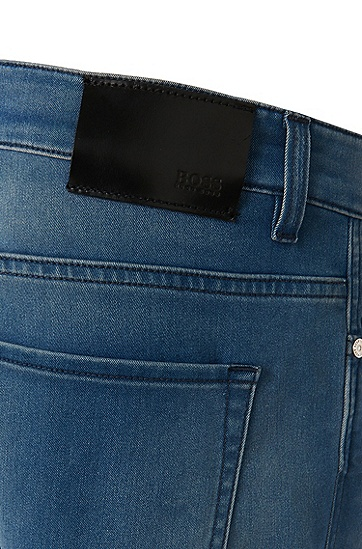 修身版棉质混纺牛仔裤:'Delaware3',  445_Turquoise