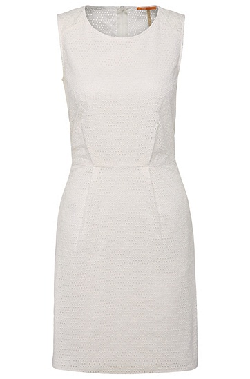 Cotton sheath dress with eyelet embroidery: 'Ameschy', White