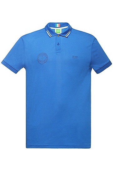 Golf polo shirt in cotton blend: 'Paule Flag', Blue