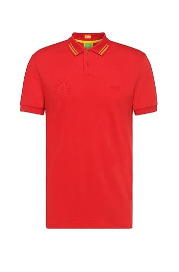 Golf-Polo aus Baumwoll-Gemisch: ´Paule Flag`, Dunkelrot