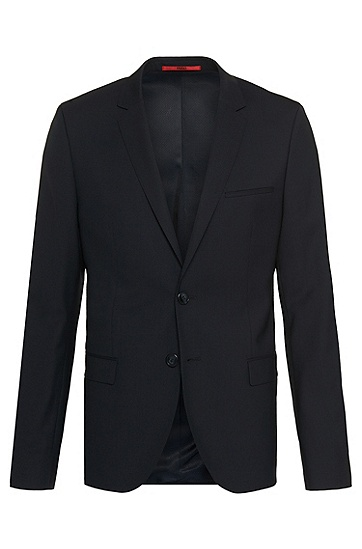 Slim-fit jacket in new-wool blend: 'Arti', Dark Blue