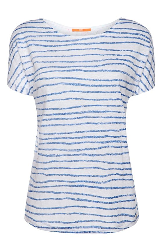 Linen t-shirt with 2 patterns: 'Tamixi', Blue