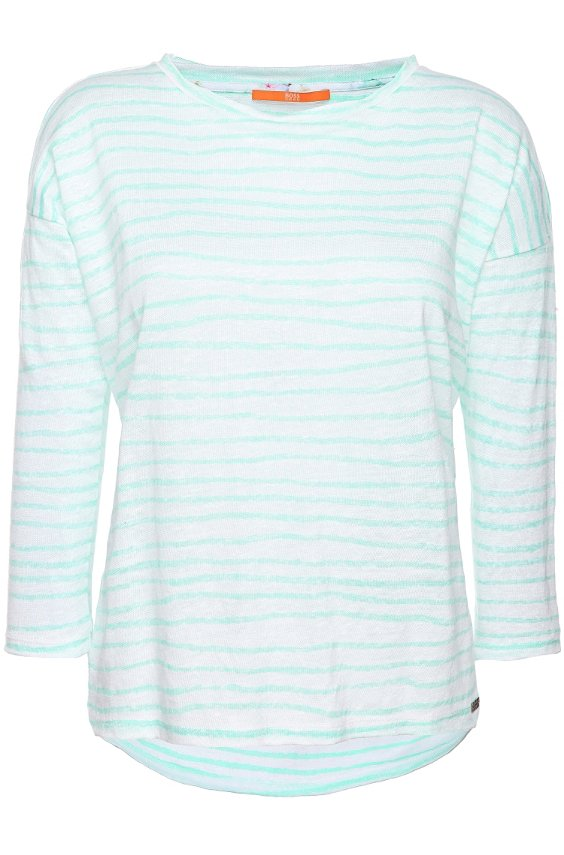 Long-sleeved shirt in striped linen: 'Truppy', Green