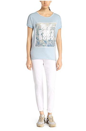 Kurzarm-Sweatshirt mit Applikation: ´Teele`, Hellblau