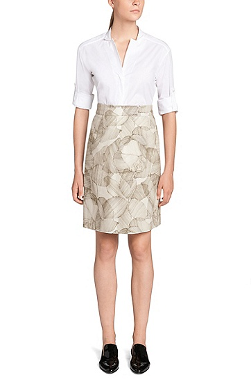 Skirt in stretch cotton: 'Victyna', Patterned