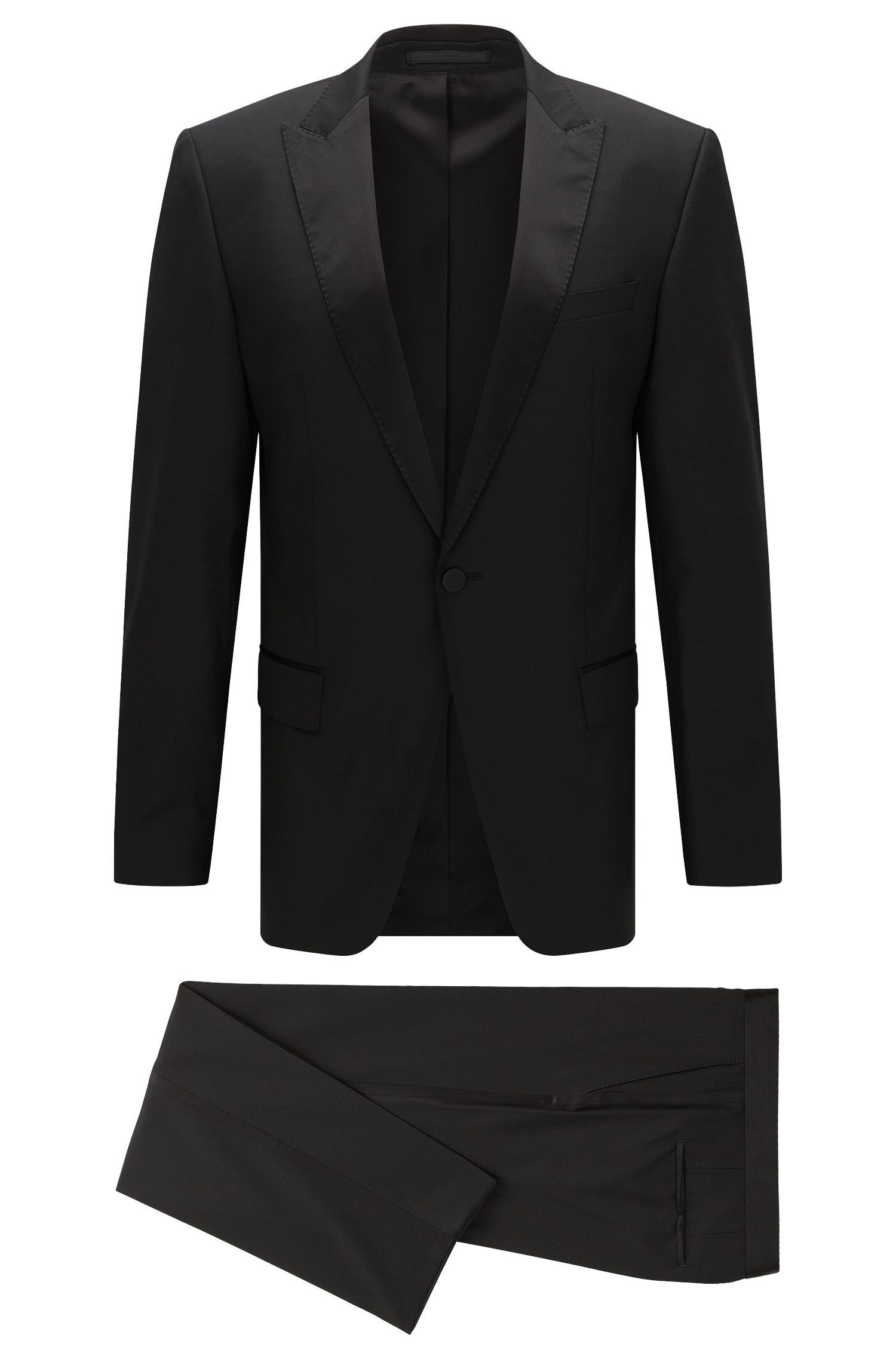 Slim-fit dinner suit in new wool with silk trim: 'Housten/Glorius'