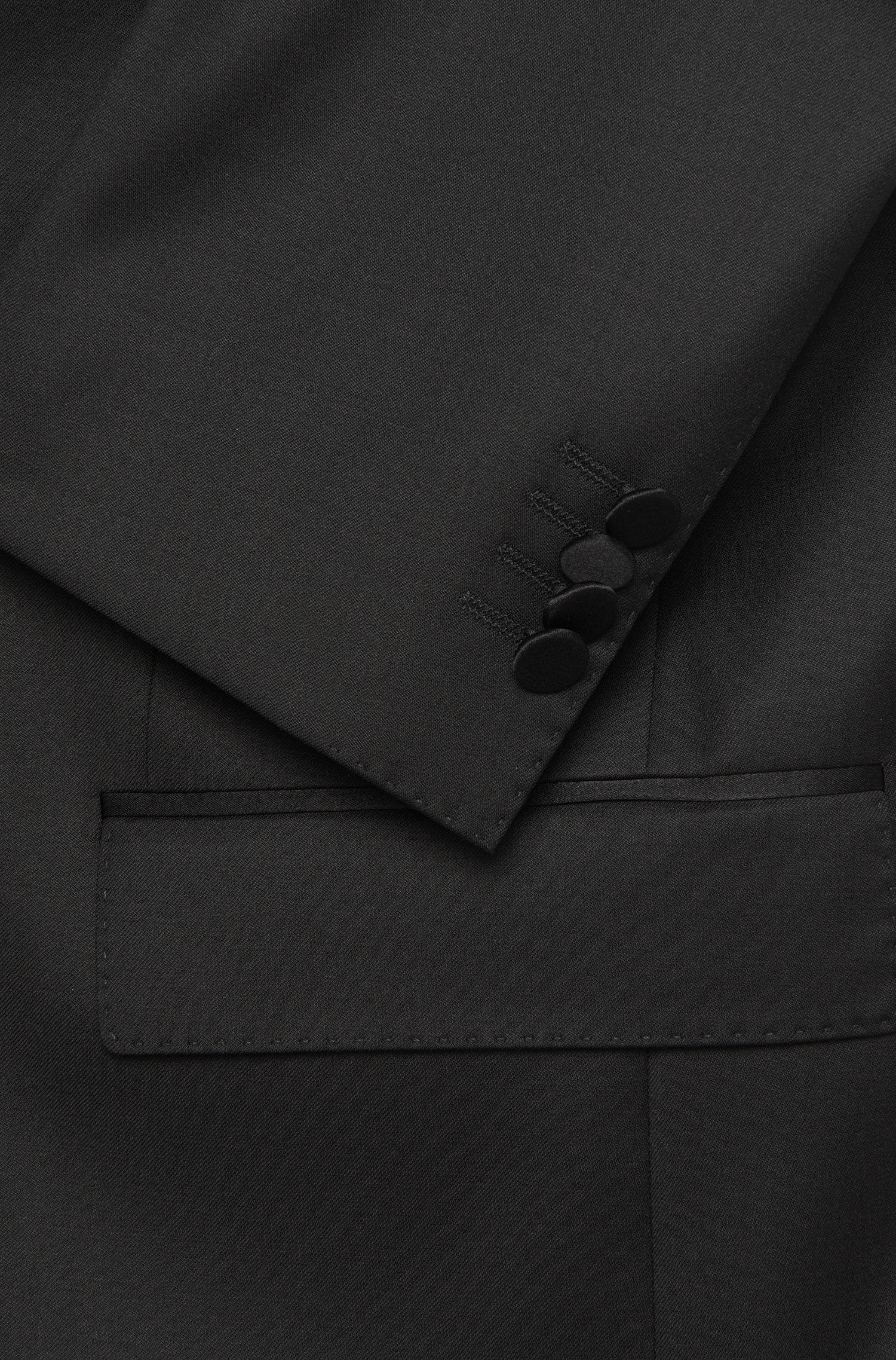 Smoking Slim Fit en laine vierge, avec parementure en soie: «Housten/Glorius»