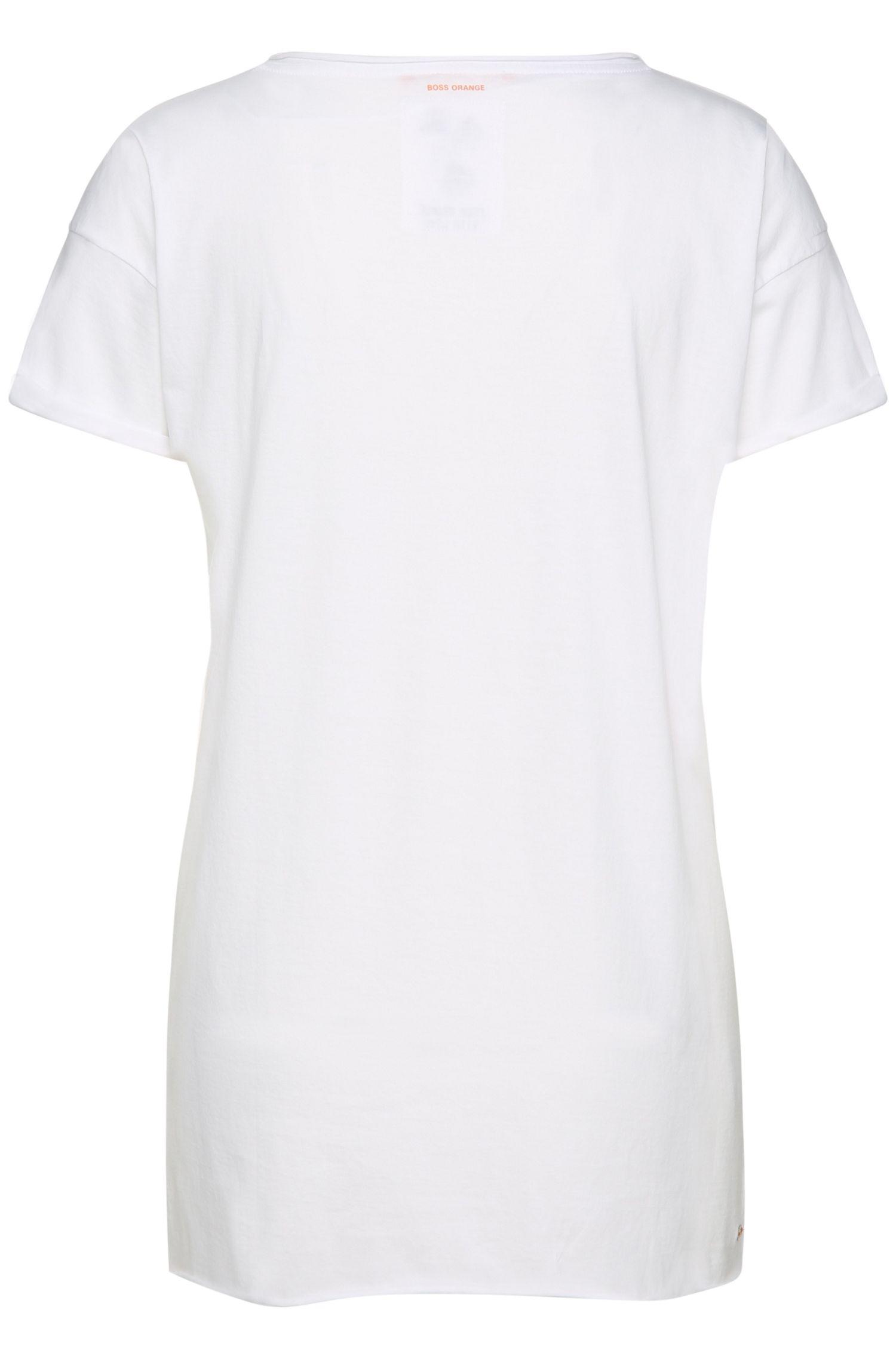 T-shirt van katoen met bloemenprint: 'Tiflower'