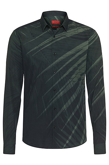 Slim-fit shirt in cotton: 'Ero3', Green
