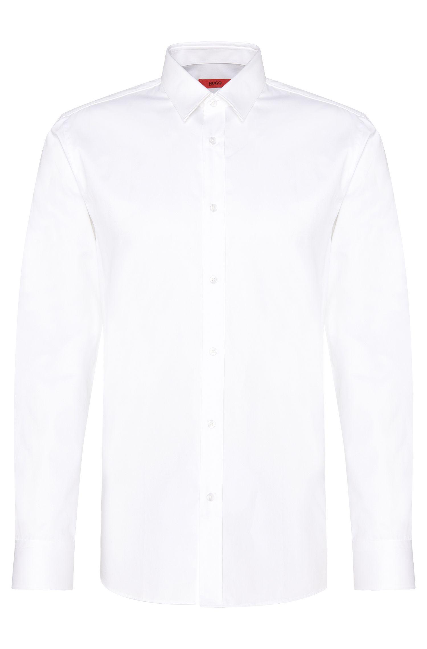 Effen slim-fit overhemd van katoen: 'Elishan'