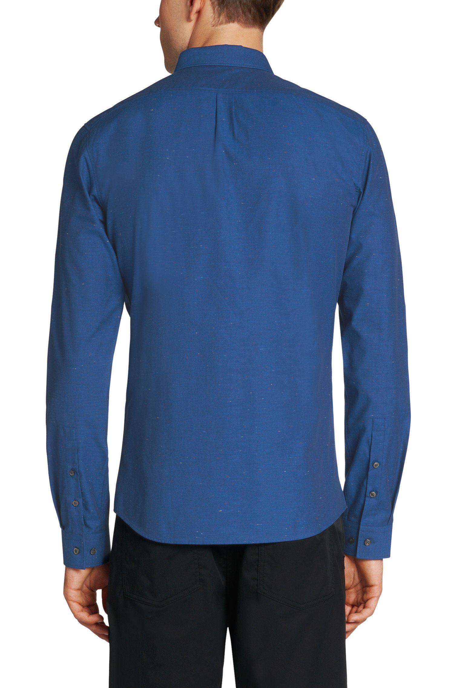 Chemise Slim Fit en pur coton rehaussée de fibres en contraste: «Enico»