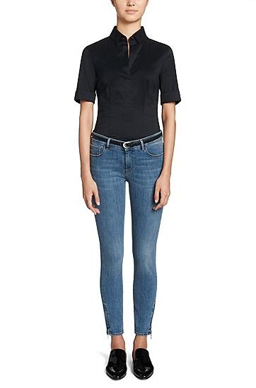 Slim-Fit Jeans aus Baumwoll-Mix: 'Nafice Zip BLOOM', Blau