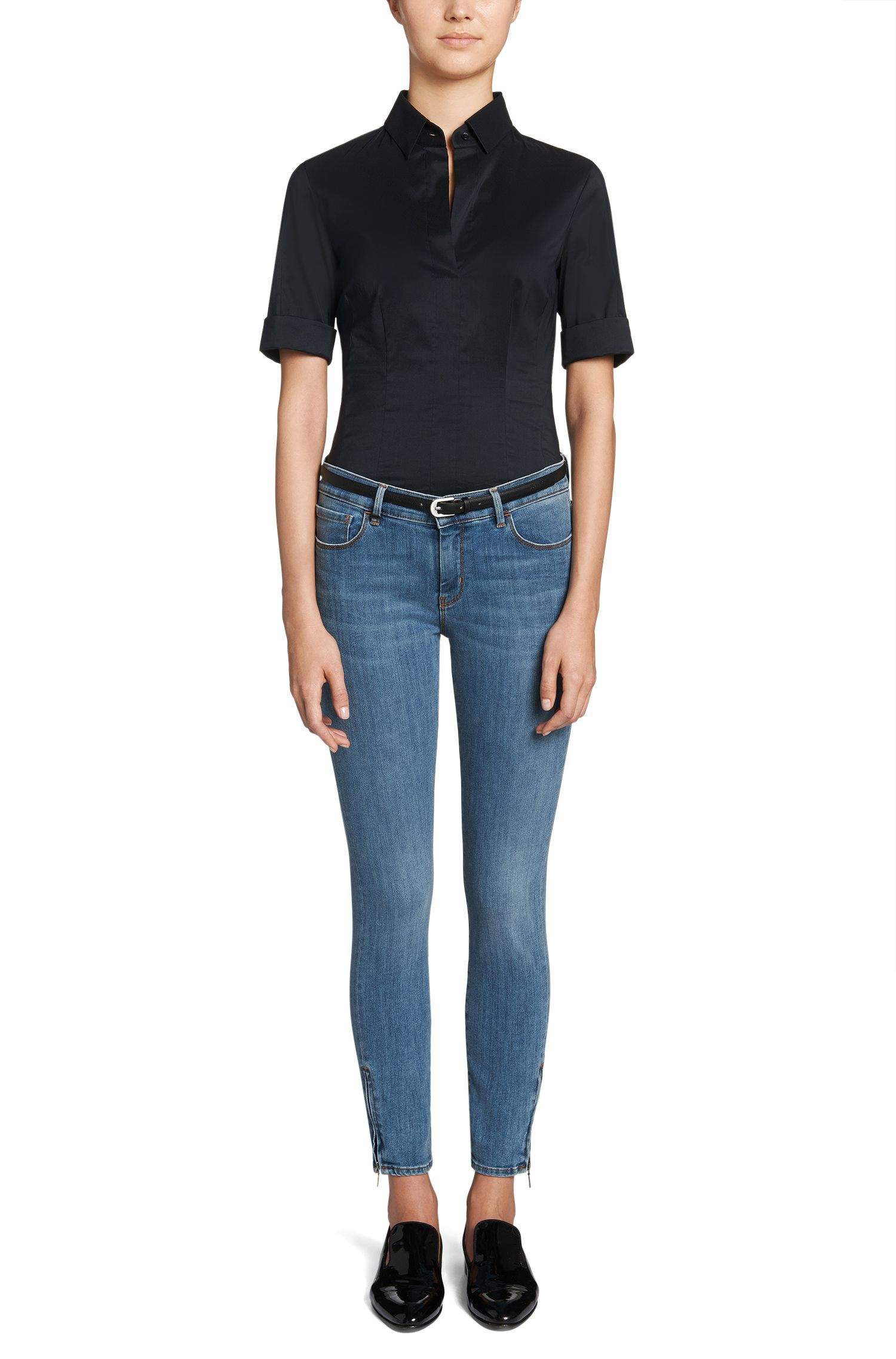 Slim-Fit Jeans aus Baumwoll-Mix: 'Nafice Zip BLOOM'