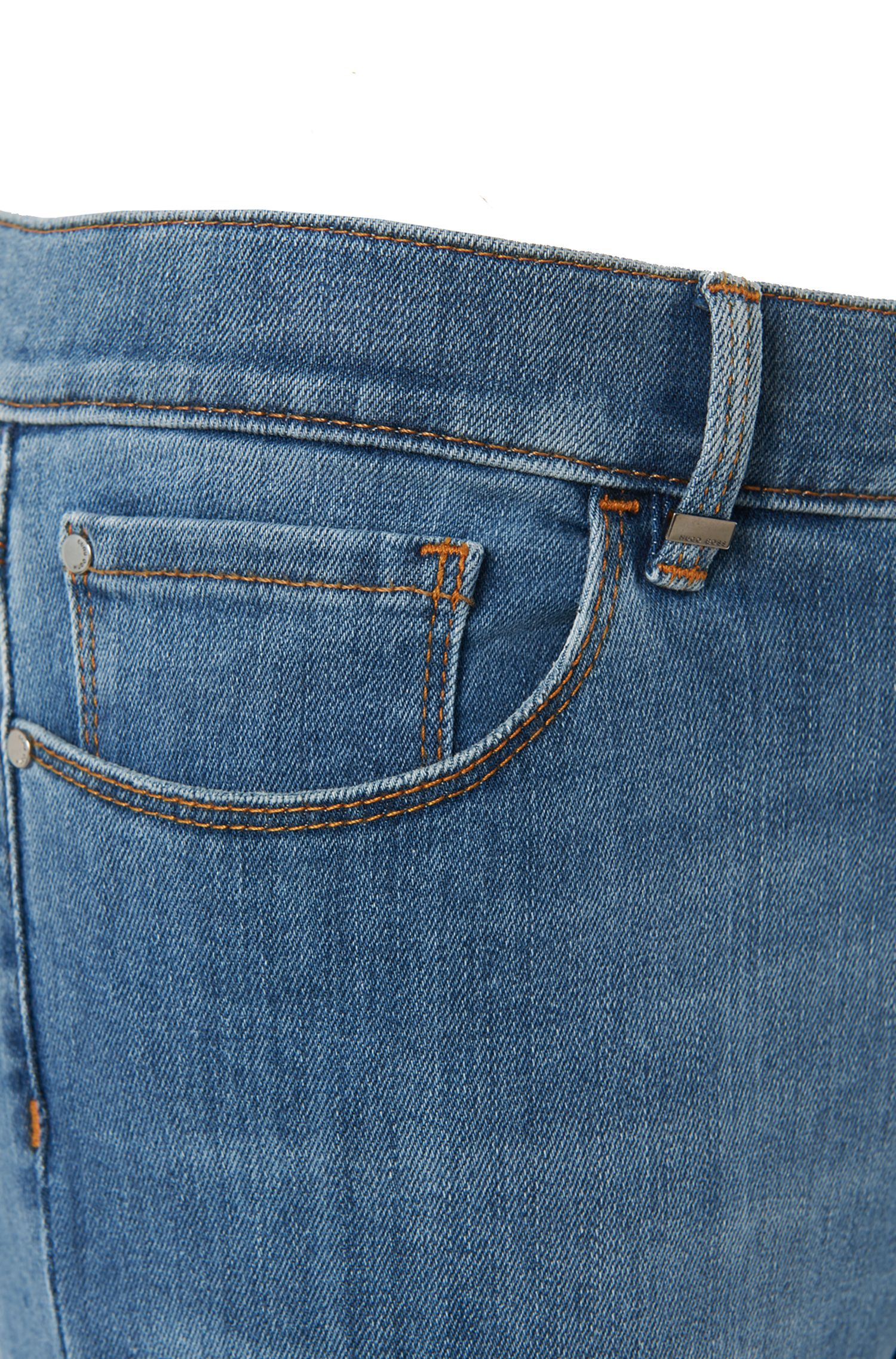 Jeans Slim Fit en coton mélangé : « Nafice Zip BLOOM »