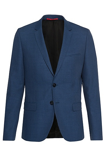 Slim-fit jacket in new-wool blend: 'Arti', Blue