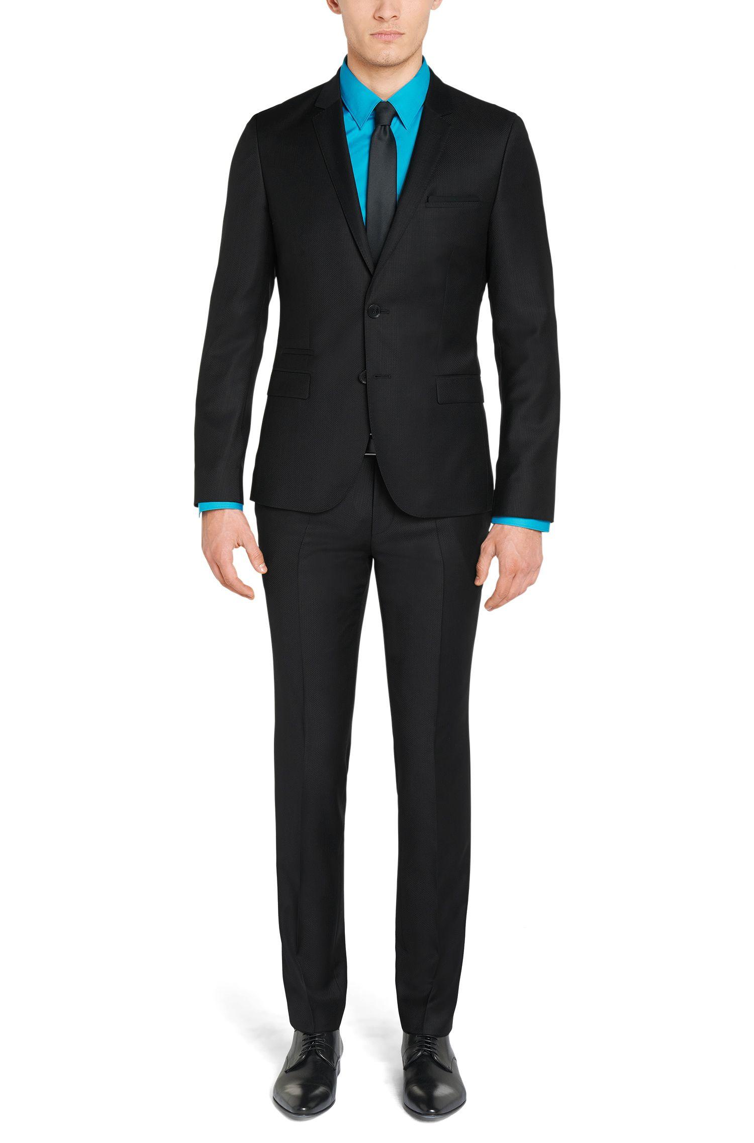 Fein strukturierter Slim-Fit Anzug aus Schurwolle: 'Arti1/Heibo3'