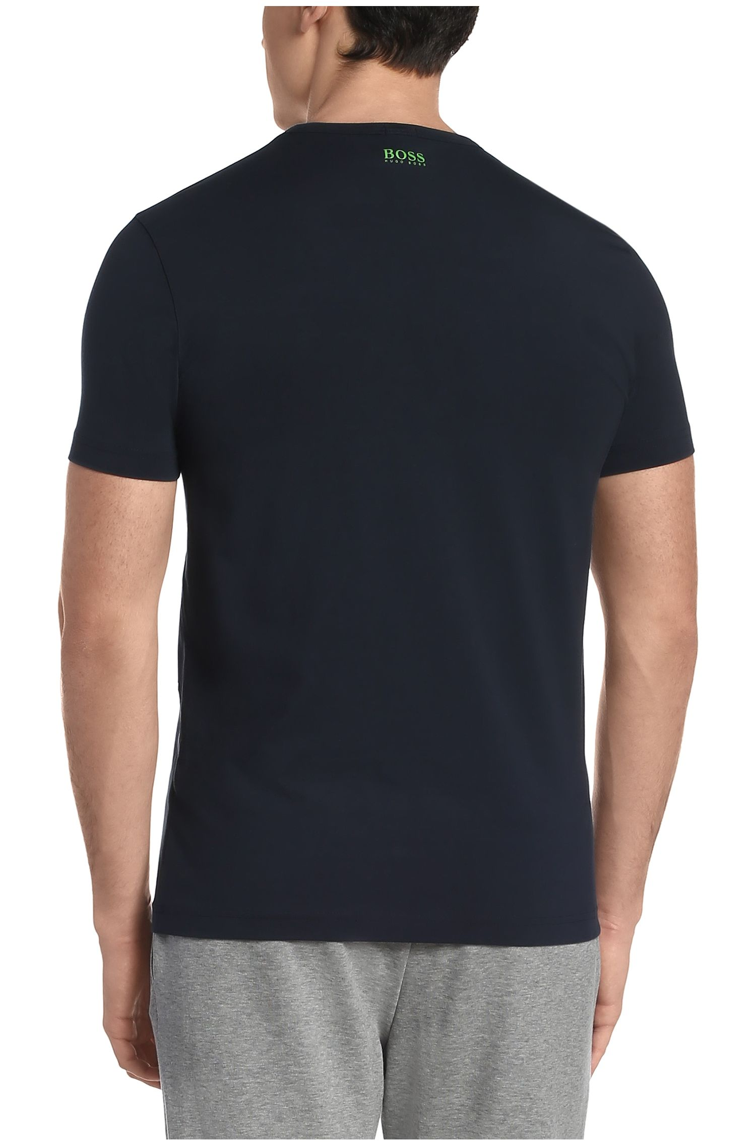Regular-fit T-shirt van stretchkatoen met print: 'Tee 11'