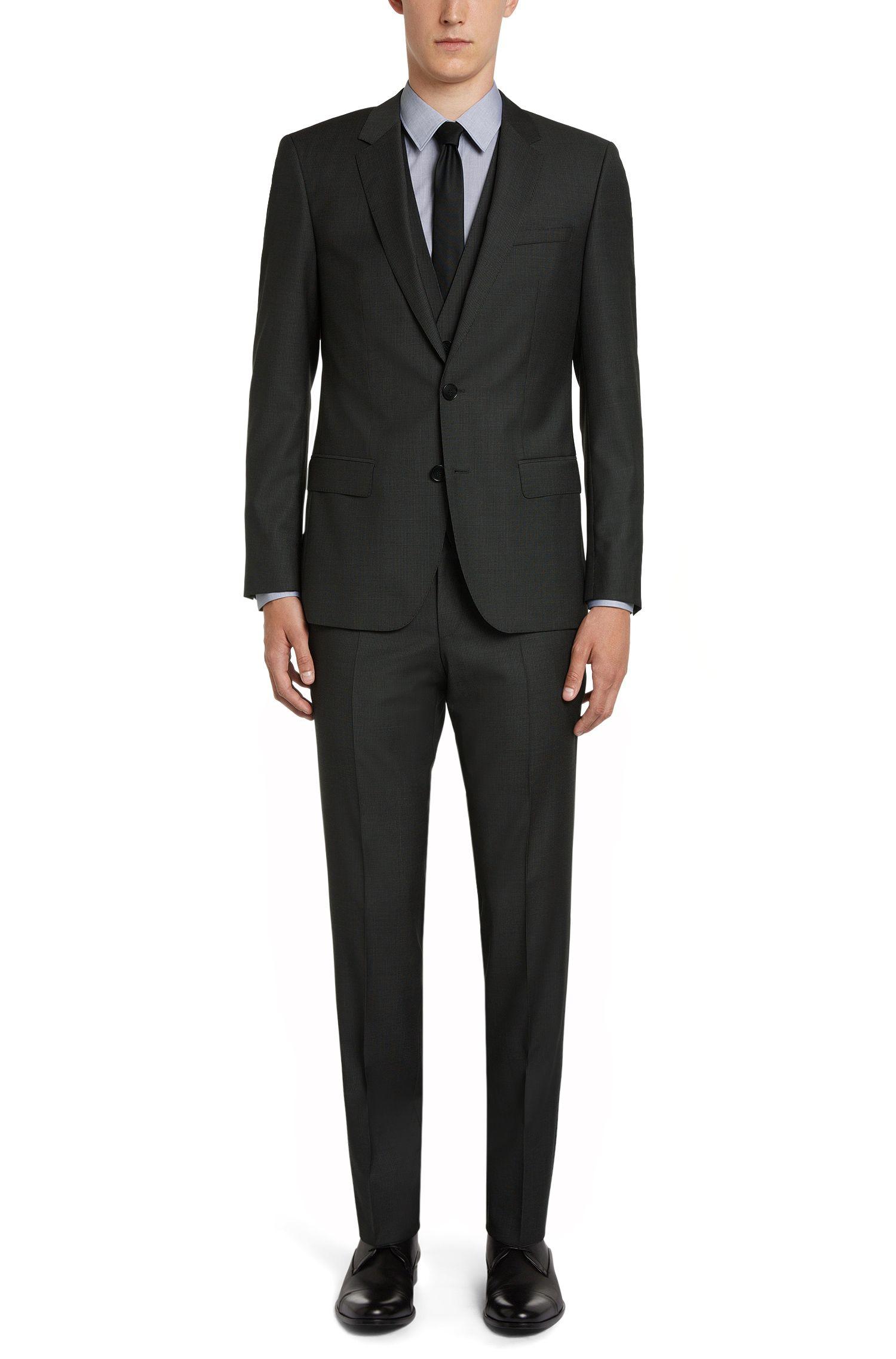 Fein gemusterter Slim-Fit Anzug aus Schurwolle: 'C-Huge1/C-Genuis/WE'