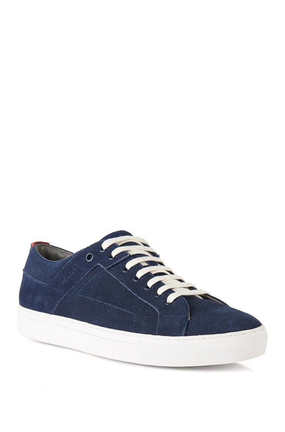 Suede sneakers with perforated inserts: 'Futesio-SD', Dark Blue