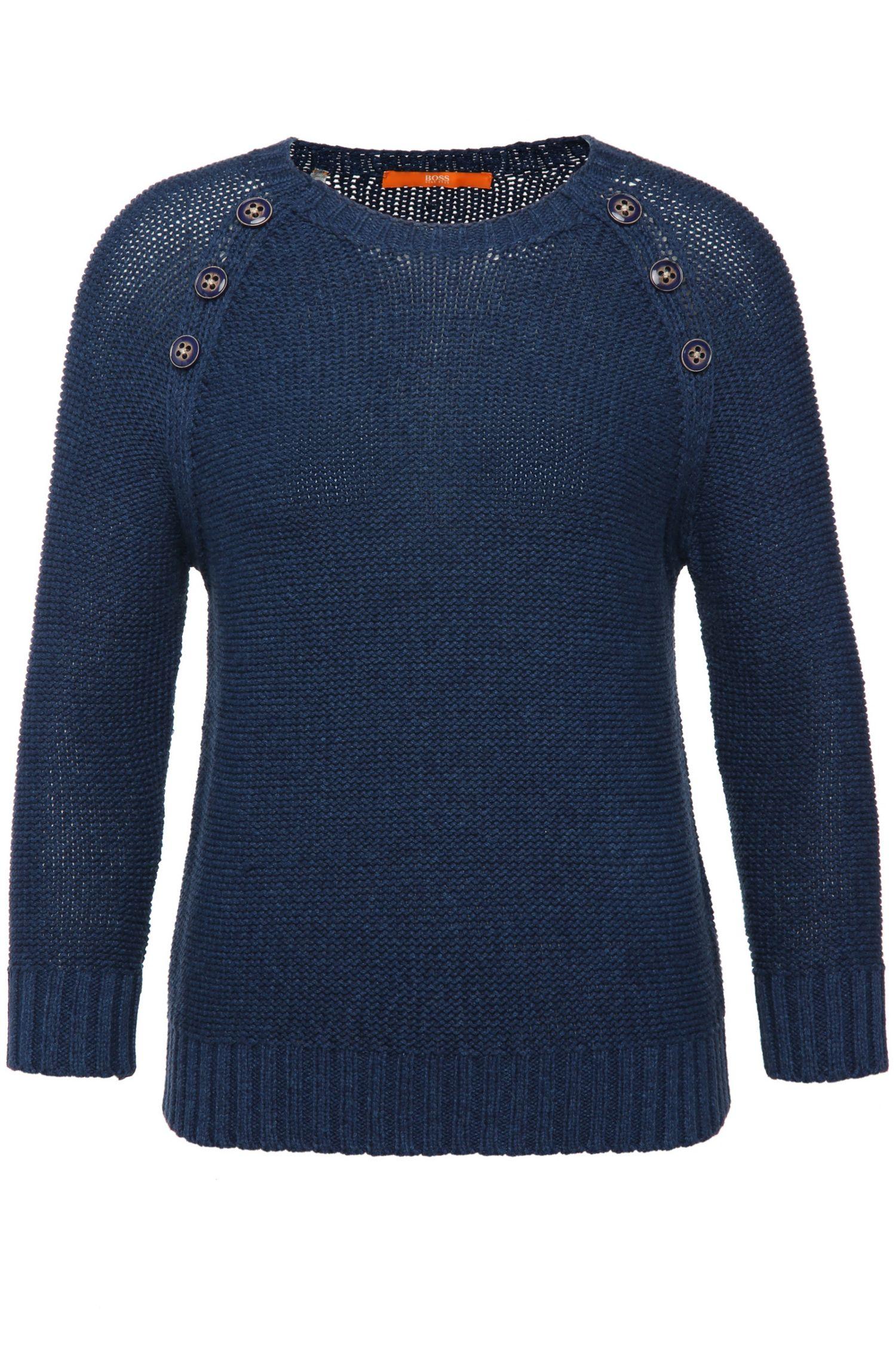 Regular-fit gebreide trui van katoen met sierknopen: 'Wonia'