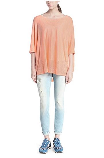 Oversize-Pullover im Poncho-Stil: ´Walerianna`, Hellorange