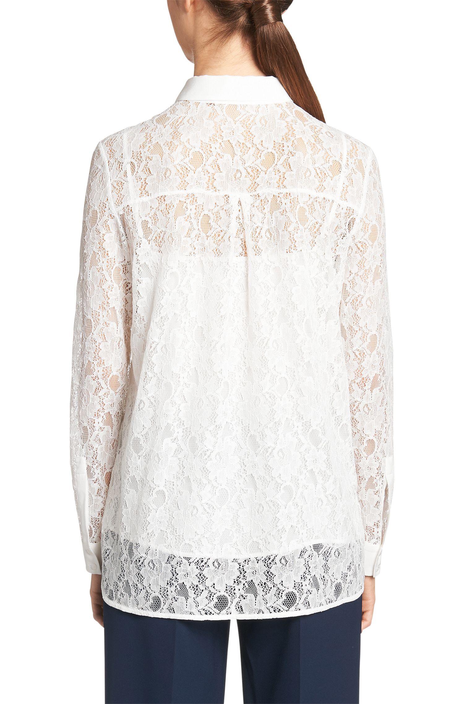 Bluse aus Spitze mit Seidenbesatz: 'Emely'