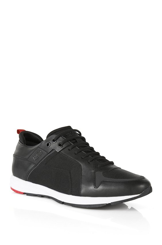 Leather sneakers with neoprene detailing., Black