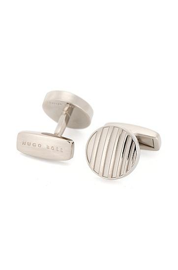 Runde Manschettenknöpfe aus Messing: 'T-Brando', Silber