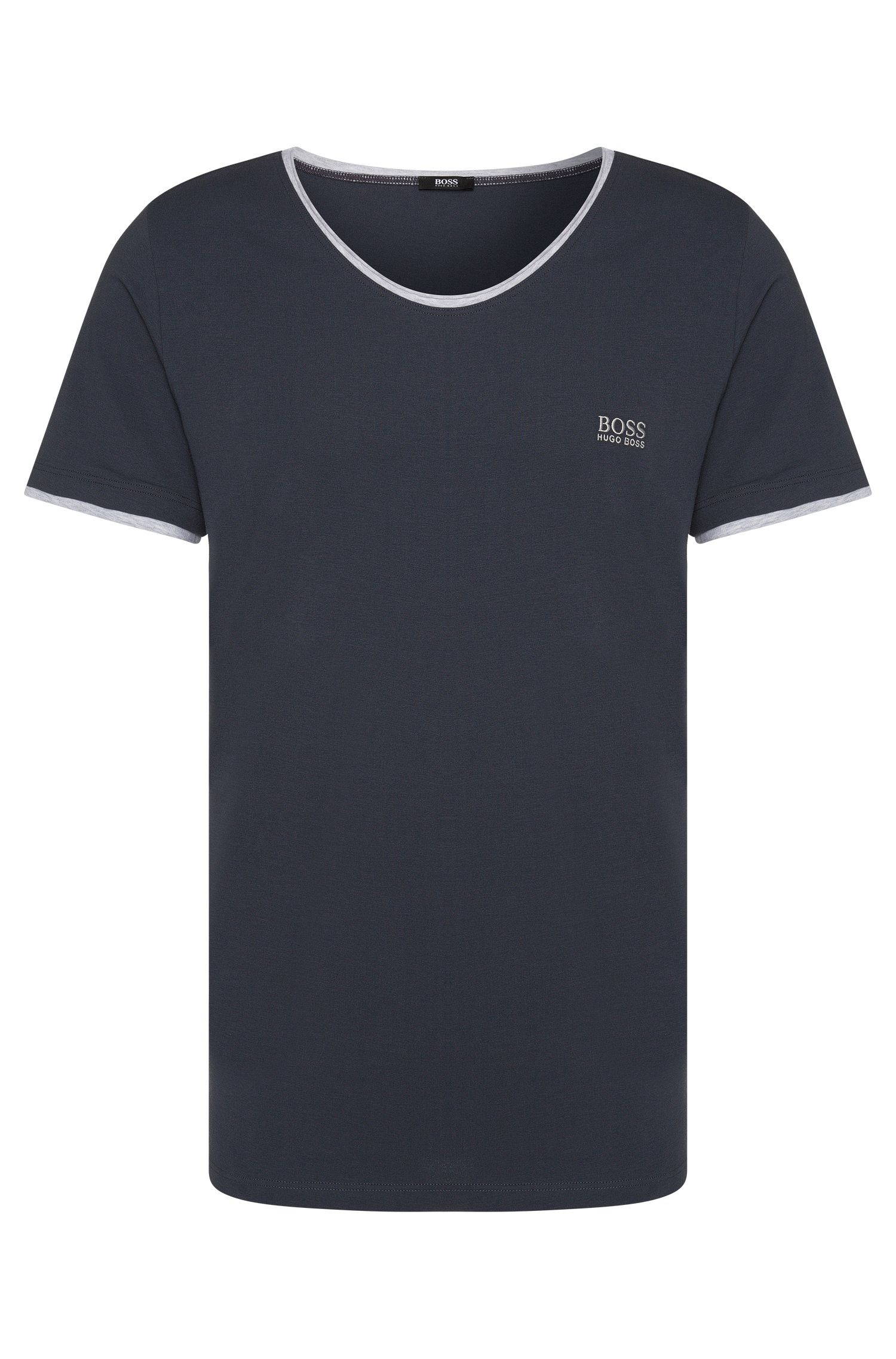Regular-fit T-shirt van stretchkatoen met contrastdetails