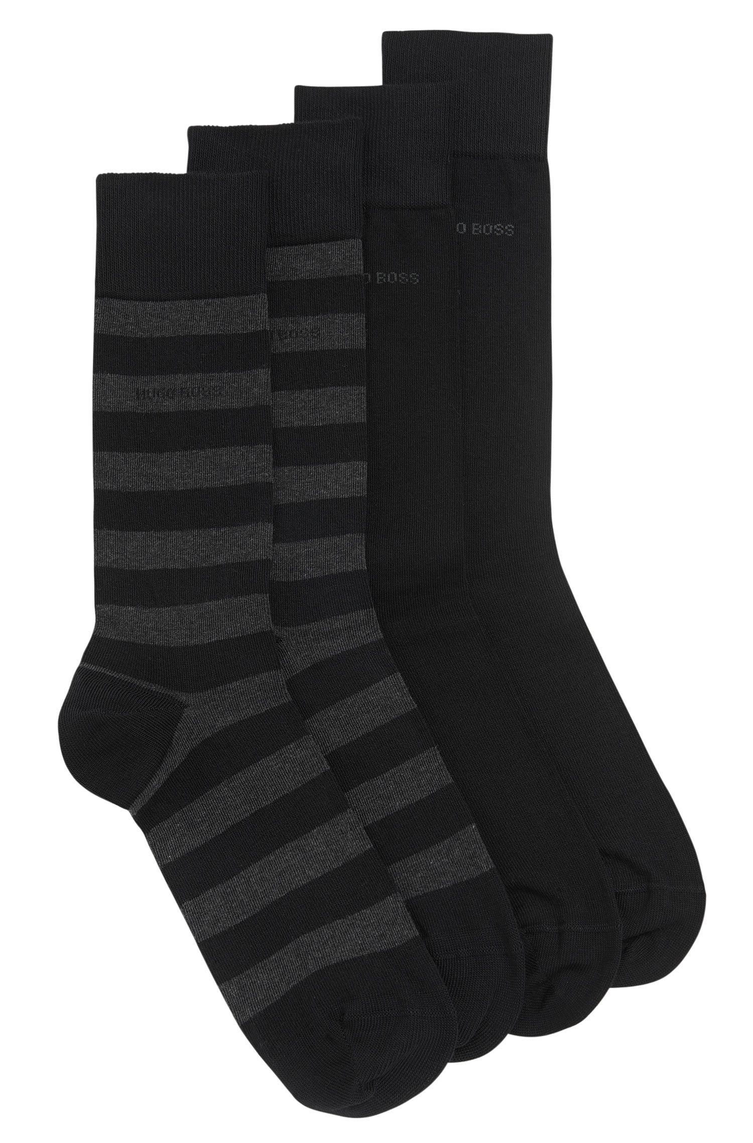 Cotton-blend socks in a double pack: 'Twopack Block Stripe'