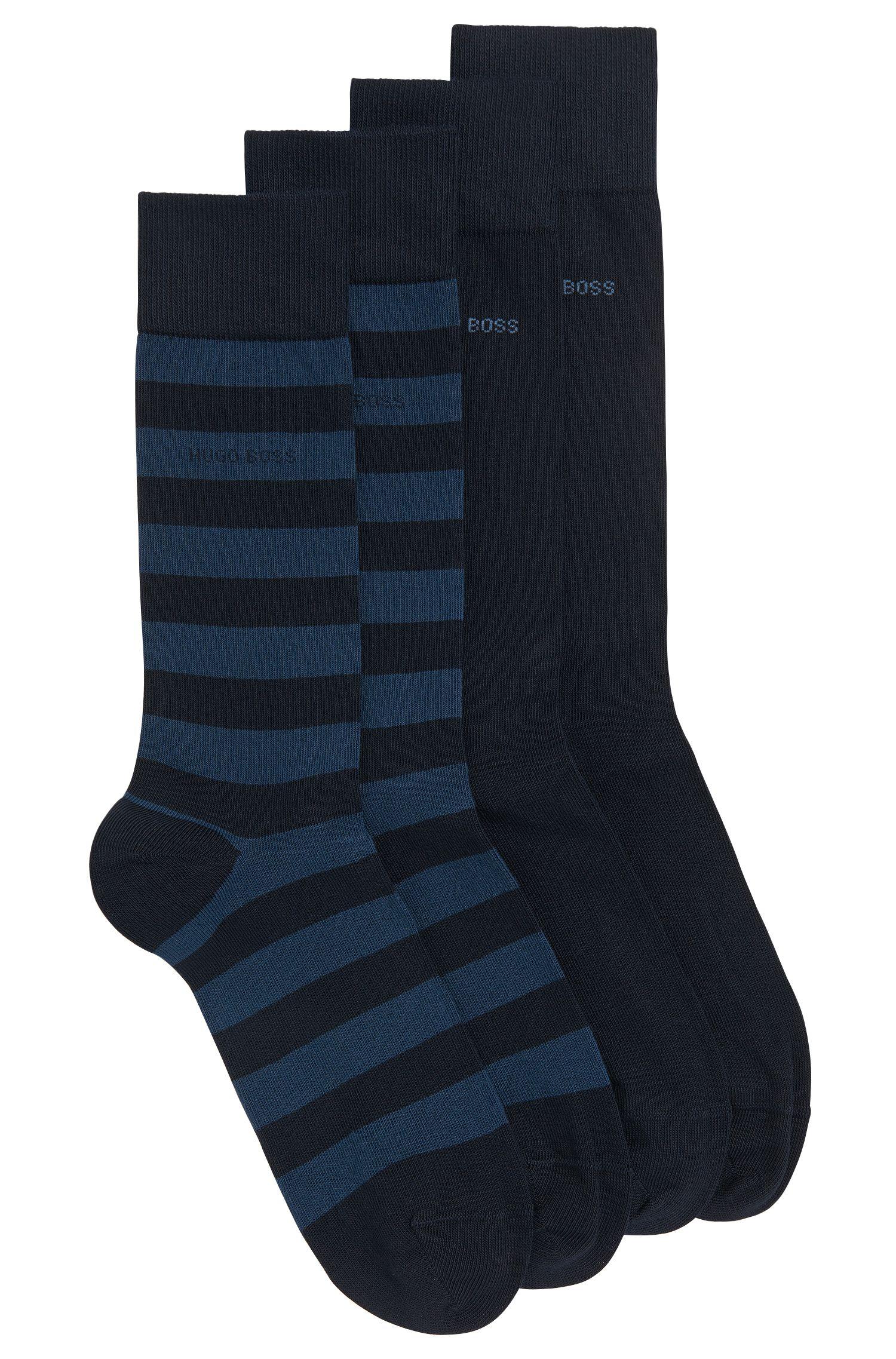Paquete de dos pares de calcetines de largo normal en mezcla de algodón peinado