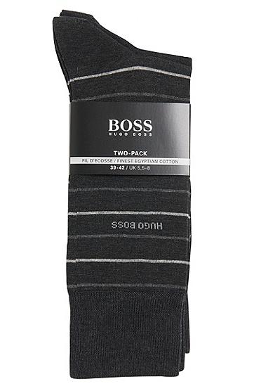 Socken aus Baumwoll-Mix im Zweier-Pack: 'Twopack Fine Stripe', Anthrazit